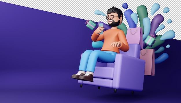 Uomo felice con il telefono rendering 3d