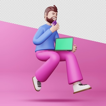 Uomo felice con telefono e notebook rendering 3d