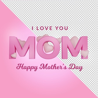 Rendering 3d di happy mothers day