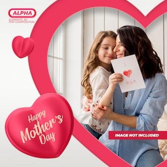 Rendering di mockup di social media per la festa della mamma felice