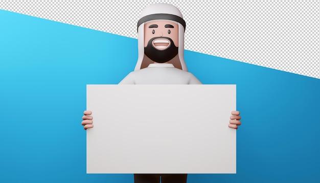 Felice l'uomo musulmano con rendering 3d schermo vuoto