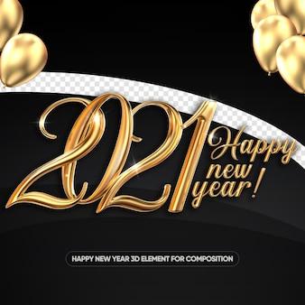 Felice anno nuovo 2021 in 3d per la composizione
