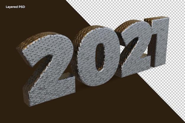 Felice anno nuovo 2021 argento metallo numero grassetto rendering 3d di alta qualità isolato