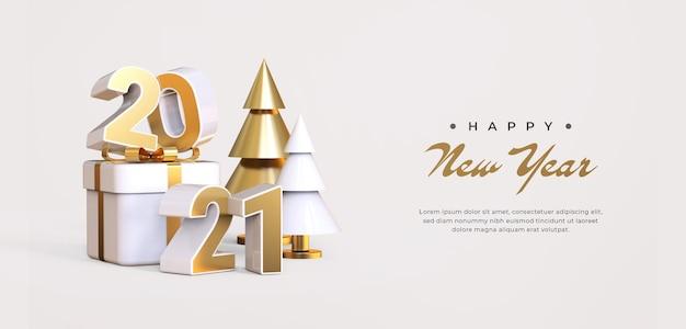 Felice anno nuovo 2021 con rendering di oggetti 3d