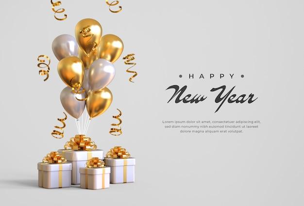 Felice anno nuovo 2021 con scatole regalo, palloncini e coriandoli