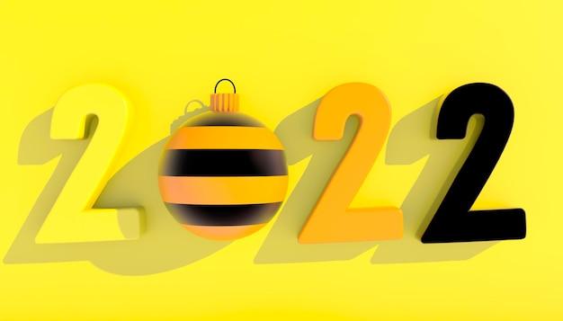 Felice anno nuovo 2022. numeri 3d con forme geometriche e palla di natale. rendering 3d.