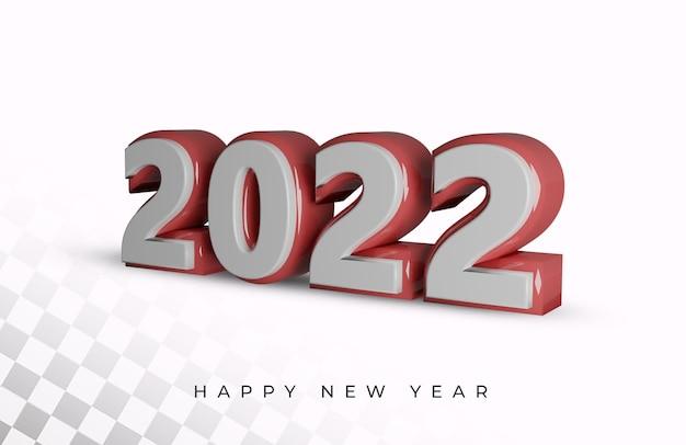 Felice anno nuovo 2022 numero in grassetto effetto testo 3d di alta qualità