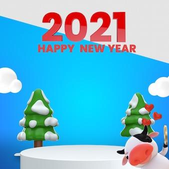 Felice anno nuovo 3d rendering mockup design