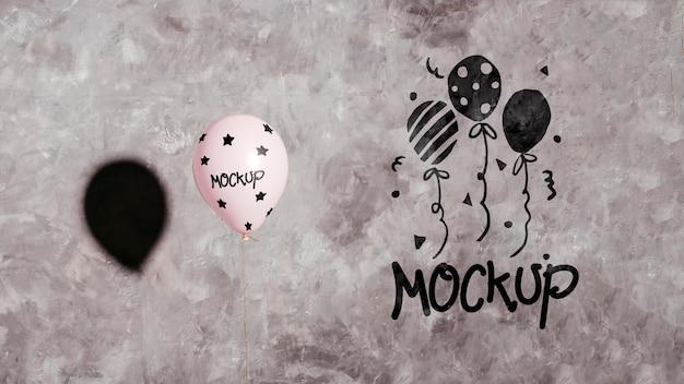Felice anno nuovo palloncini mock-up
