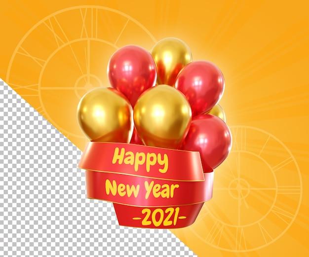 Felice anno nuovo che celebra con palloncino galleggiante e rendering di prua