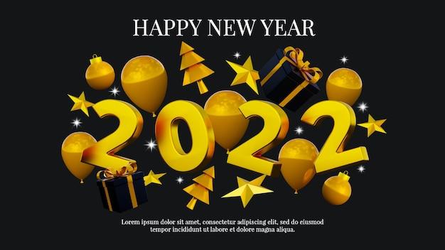 Felice anno nuovo e banner di natale modello di post sui social media