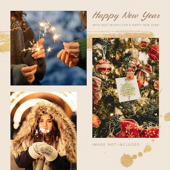 Modello di post di instagram di felice anno nuovo