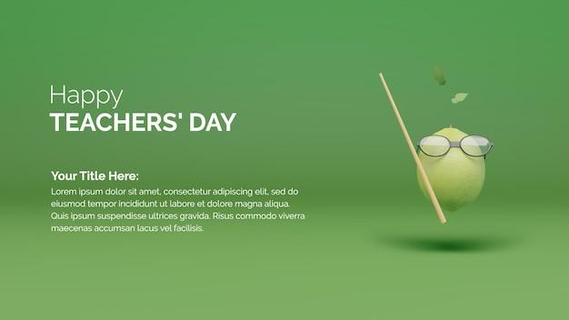 Felice giorno degli insegnanti concetto di sfondo poster con limone verde con occhiali e canna