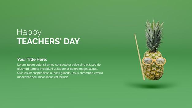 Felice giorno degli insegnanti concetto di sfondo del poster con ananas e canna sullo sfondo verde