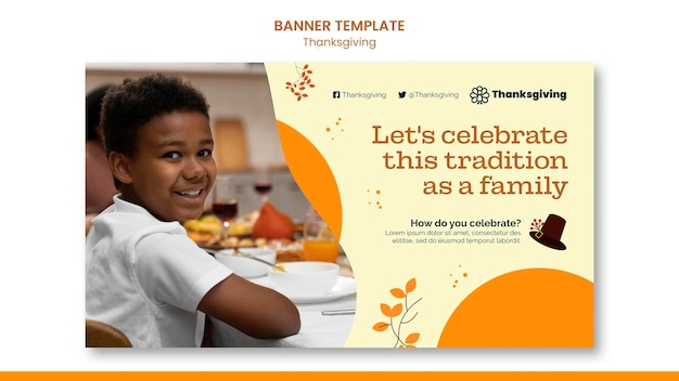 Modello di banner orizzontale felice giorno del ringraziamento