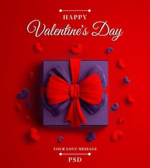 Felice mockup di banner di san valentino con regalo