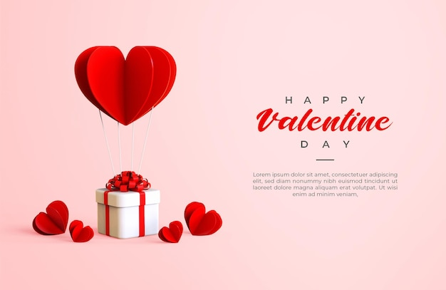 Felice giorno di san valentino banner con rendering di oggetti 3d