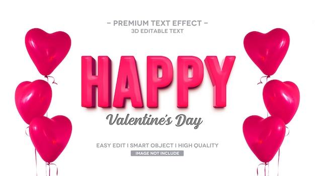 Modello di effetto testo 3d di san valentino felice