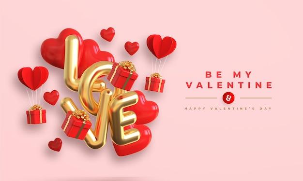 Felice banner di san valentino con testo metallico oro 3d