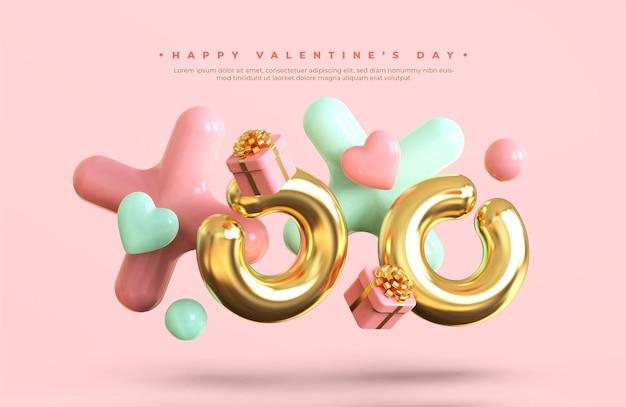 Felice banner di san valentino con composizione creativa romantica 3d