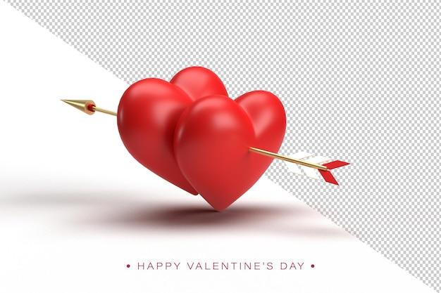 Composizione felice di san valentino nella rappresentazione 3d