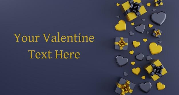 Carta di modello di auguri di san valentino felice con i cuori