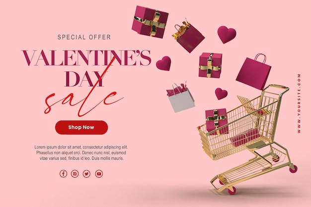 Felice modello di banner di vendita di san valentino