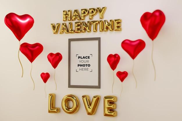 Felice scena di san valentino con mockup di cornice