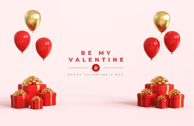 Buon san valentino con composizione 3d