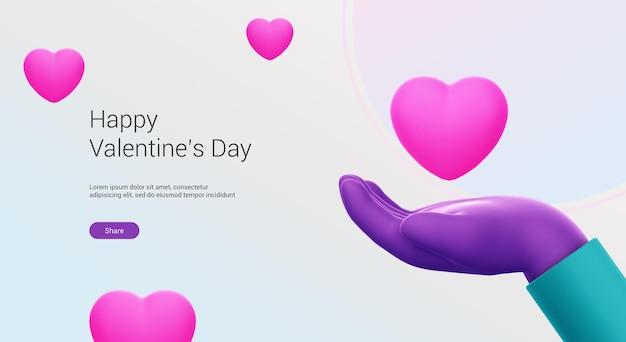 Buon san valentino con rendering 3d a mano