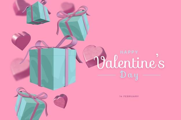 Buon san valentino con amore 3d rendering audace mockup