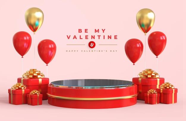 Buon san valentino con podio per la presentazione del prodotto e la composizione 3d