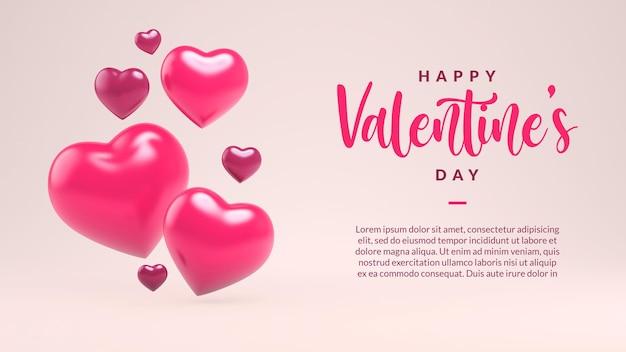Felice modello di biglietto di auguri di san valentino con cuori in rendering 3d