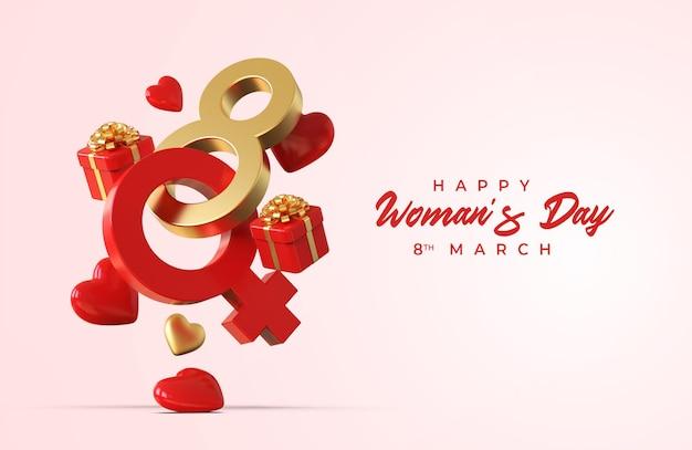 Giorno della donna felice con composizione creativa romantica 3d