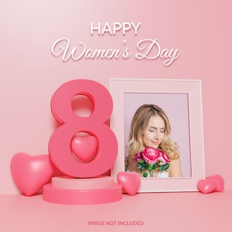 Happy women's day 3d render photo frame mockup