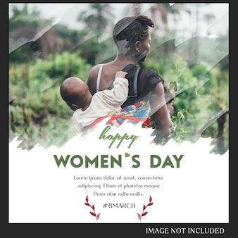 Felice giorno della donna e 8 marzo saluto modello di instagram post Psd Premium