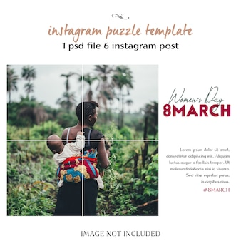 Happy women's day e 8 marzo greeting instagram puzzle, grid o collage template