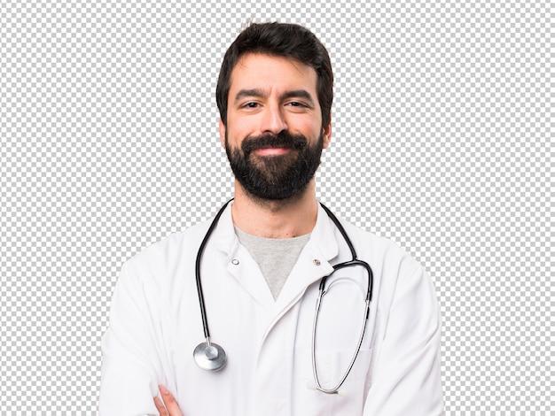 Felice giovane medico