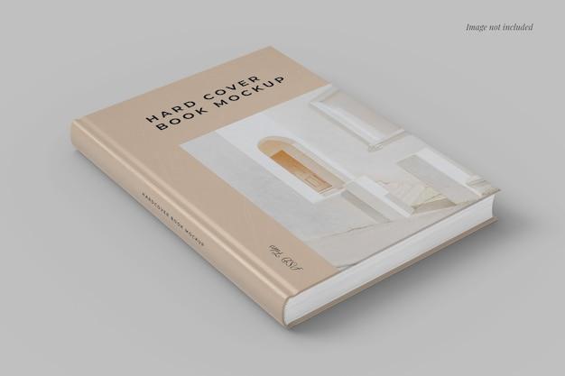 Vista laterale del mockup del libro con copertina rigida
