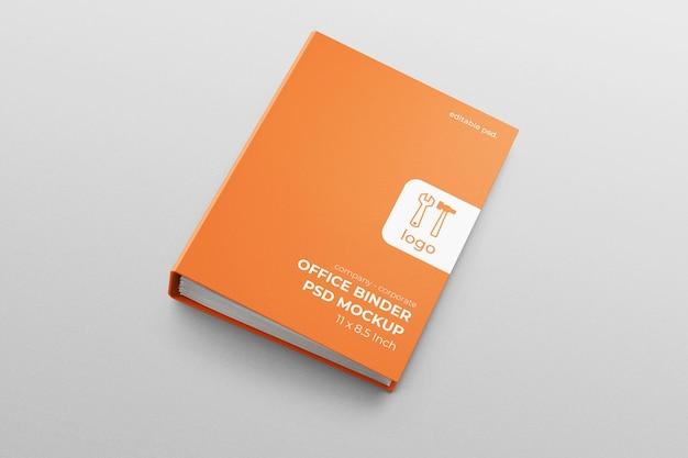 Raccoglitore di documenti per ufficio aziendale con copertina rigida in mockup realistico con vista dall'alto