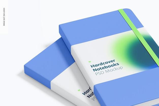 Quaderni con copertina rigida con fascia elastica mockup, close up