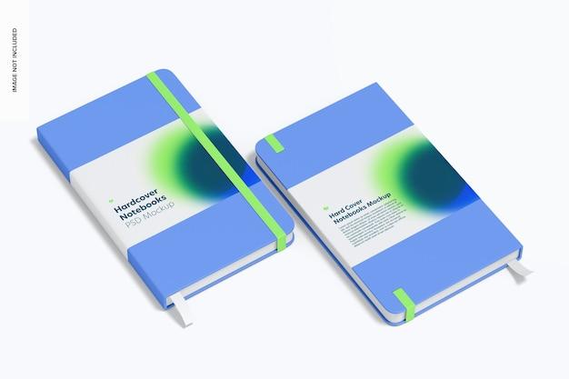 Quaderni con copertina rigida con fascia elastica mockup
