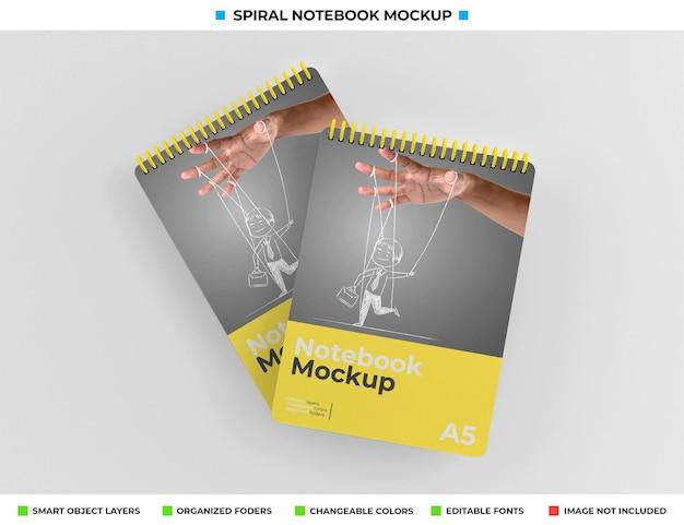 Mockup di quaderno a spirale con copertina rigida