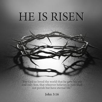 He is risen easter poster design corona di spine simbolo della crocifissione rendering 3d retroilluminato scuro