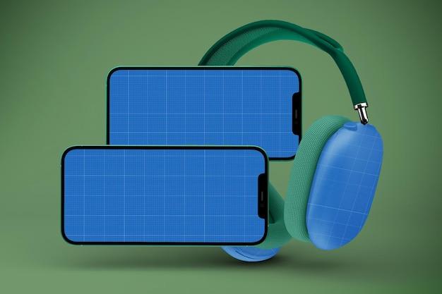 Head phones e smart phone mockup