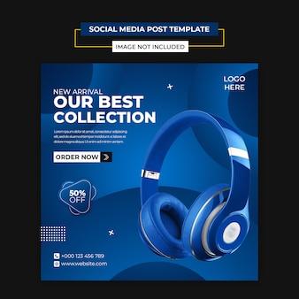 Social media di prodotto per cuffie e modello di post di instagram