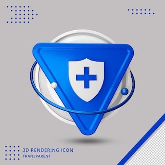 Icona dello scudo di salute nel rendering 3d isolato