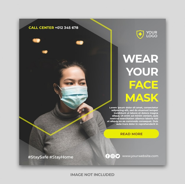 Banner sanitario o volantino quadrato con tema di prevenzione virus per modello di post di social media