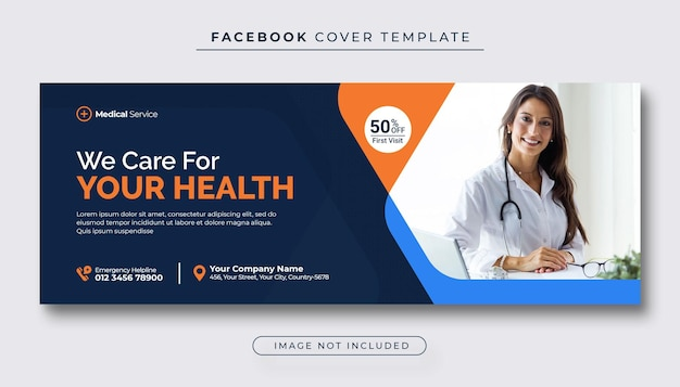 Banner di copertina di facebook per assistenza sanitaria e medica