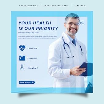 Sanità e medicina modello di promozione post feed di social media
